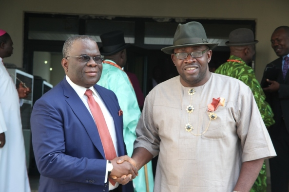 Bayelsa State Governor, Hon. Seriake Dickson (right) congratulating Gen. Andrew Owoye Azazi (left) shortly after being appointed as the Chairman of the Newly Inaugurated Flood Committee at Government House in Yenagoa.Photo by Lucky Francis, Government House, Yenagoa