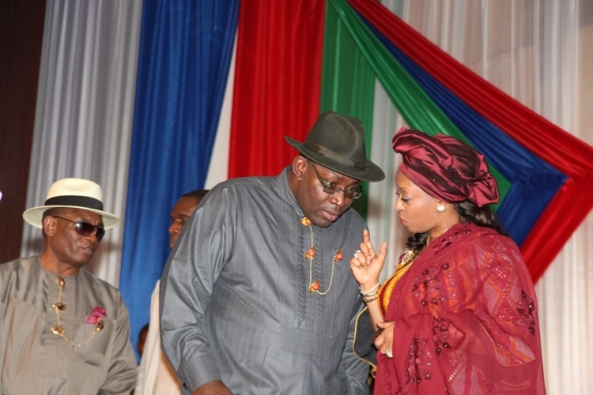 Minister of Petroleum, Mrs. Diezani Allison Madueke (right) explaining a point to the Bayelsa State Governor, Hon.Seriake Dickson (2ndright) during the inauguration ceremony of Bayelsa Development And Investment Corporation at Government House in Yenagoa, while the Deputy Governor, Rear Admiral Gboribiogha John Jonah (left) looks on.