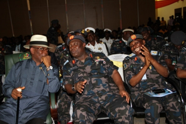 L – R: The Deputy Governor of Bayelsa State, Rear Admiral Gboribiogha John Jonah (Rtd), Chief of Air staff, Nigerian Airforce, Air Marshal Alex Sabundu Badeh and the Rep. of the COAS, AVM I.H Mohammed at the closing ceremony of Exercise EBIYE RIN (a  Civil – Military Operations by the Mobility Command, Nigerian Air force) as part of activities marking its 49th Anniversary, at the Banquet Hall, Government House, Yenagoa