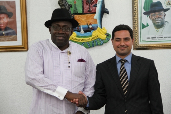 Governor Seriake Dickson of Bayelsa State (left) and the Political Counselor, British High Commission, Abuja, Mr. Hooman Nouruzi, during a courtesy call on the Governor by a team from the British High Commission at Government House, Yenagoa.