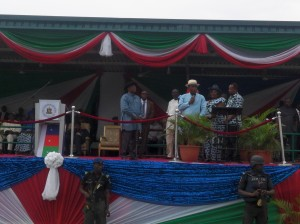 Deputy Governor of Bayelsa State, Rear Admiral John Jonah (rtd) addresses the crowd before Governor Dickson speaks.
